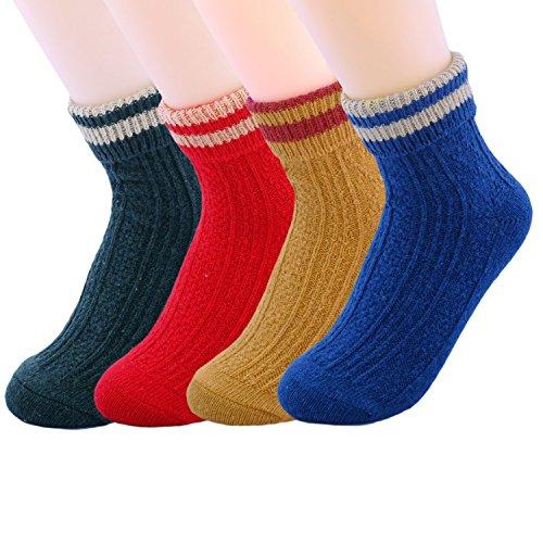 JOYCA & Co. 3-5 Pairs Womens Multicolor Fashion Warm Wool Cotton Thick Winter Crew Socks (Football)