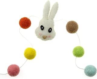 Zasy Felt Ball Garland Needle Felt Cartoon Animal Garland Wool Pom Pom Children Christmas Party Hanging Decoration (Rabbit)