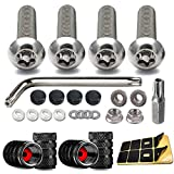 Anti Theft License Plate Screws- Stainless Steel Security Bolts for Car Tag Holder Frame Mounting, Anti Rust M6 Fasteners Nuts Assortment, Matte Black Screws Caps, Tire Valve Covers, Rattle Proof Pads