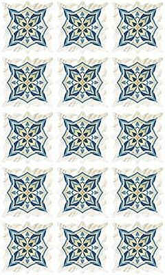 Jaamso Royals SkyBlue Mosaic Tiles Sticker Floor Sticker, Kitchen Bathroom Self-Adhesive PVC Waterproof Wall Sticker(30CM X 45CM)