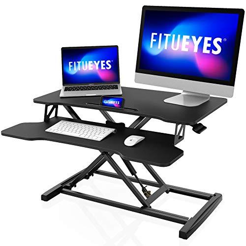 FITUEYES Sitz-Steh-Schreibtisch Breit 32''/80cm Ergonomischer Steharbeitsplatz schwarz Sit-Stand Workstation höhenverstellbar SD308001WB