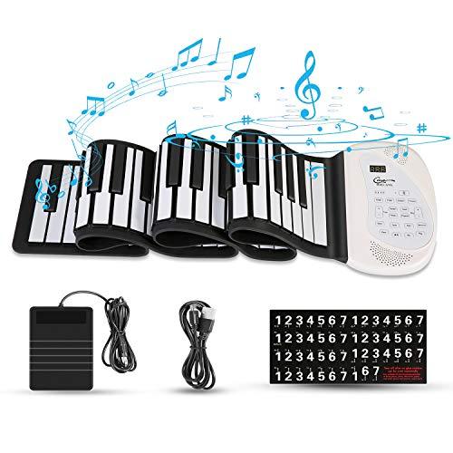 Hricane Teclado de piano enrollable, electrónico y portátil, con 88...