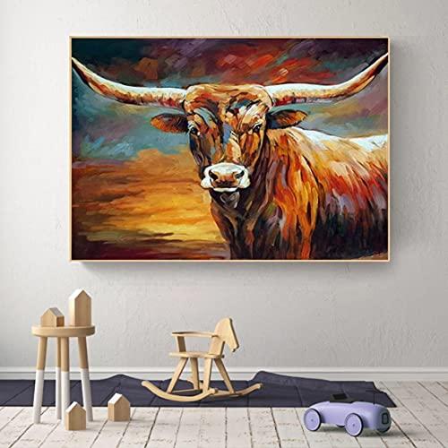 Danjiao Acuarela Abstracta Graffiti Animales Vaca Lienzo Pintura Carteles E Impresiones Cuadros Cuadros De Arte De Pared Para Decoración Del Hogar (Sin Marco) Decor 40x60cm