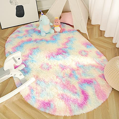JAMFEEL Fluffy Rainbow Oval Rugs for Girls Bedroom, 3x5 Feet, Shag Colorful Rug for Living Room, Soft Fuzzy Carpets for Princess Room, Cute Kids Playmats for Baby Nursery Home Decor