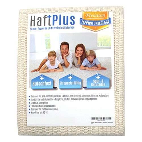 HaftPlus - Rete Sottotappeto Antiscivolo Lavabile 120 x 180 cm, Trama Evoluta, Allunga la Vita al Tappeto, Adatta x Riscaldamenti a Pavimento, Ritagliabile