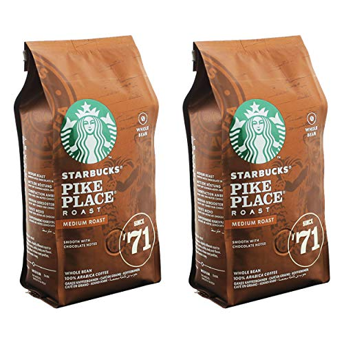 Starbucks Pike Place Kaffee, 2er Set, Medium Roast, Röstkaffee, Sanft, Schoko-Note, Ganze Bohnen, 2 x 200g