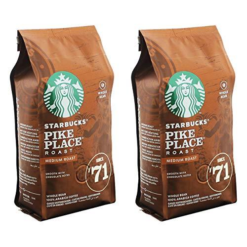 Starbucks Pike Place Kaffee, 2er Set, Medium Roast, Röstkaffee, Sanft, Schoko-Note, Ganze Bohnen, 2 x 200g