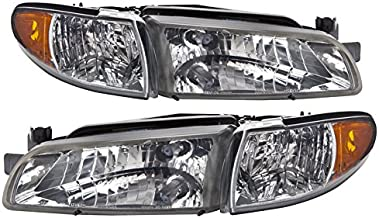 PERDE Compatible with Pontiac Grand Prix Chrome Halogen Headlights Pair Driver Passenger Set With Performance Lens