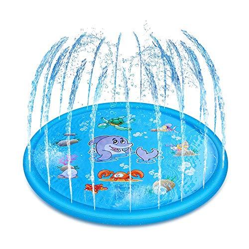 TOMYEER Alfombrilla de juego con salpicaduras, para piscina de bebé, verano, agua y fiesta, juguetes para niños, color azul