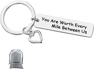 هدية ميدالية مفاتيح لعلاقة مسافات طويلة أنت تستحقين كل ميل بين الولايات المتحدة ميدالية مفاتيح كسلسلة مفاتيح للزوجين وسلسل...