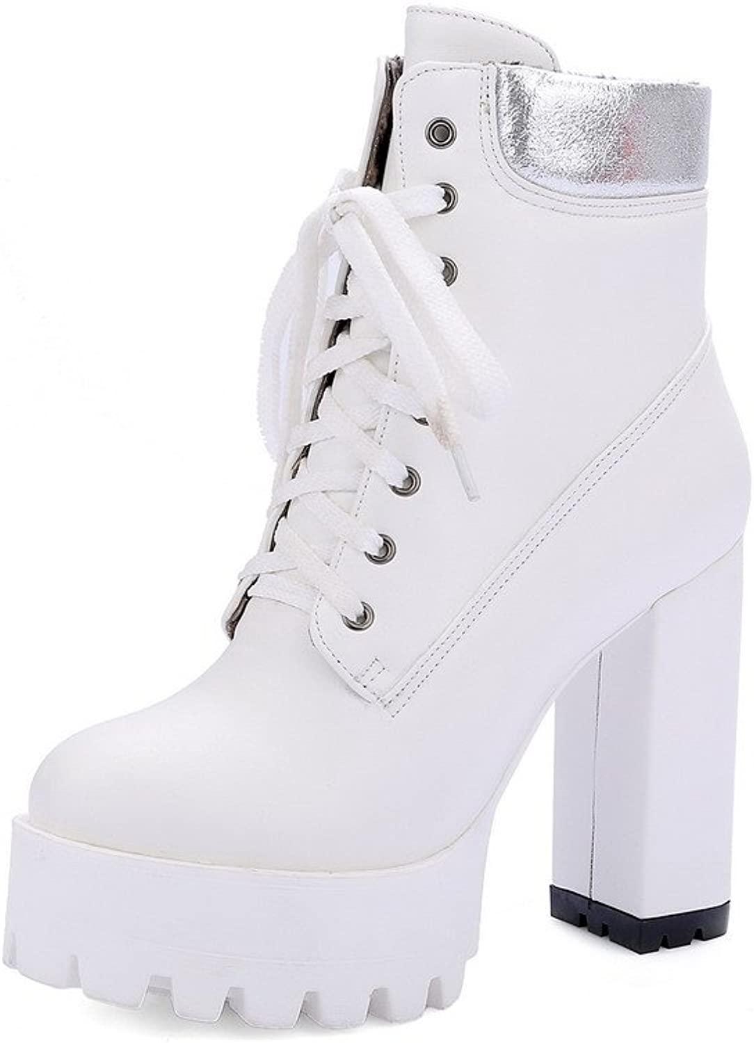 AmoonyFashion Women's PU Low-top Assorted color Lace-up High-Heels Boots