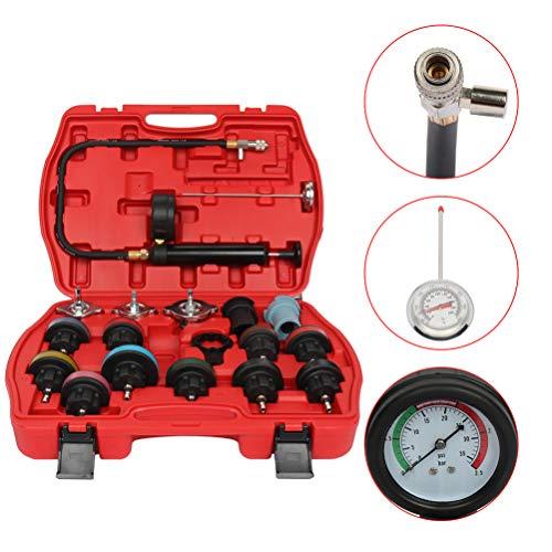 SCITOO 18pcs Cooling System Tester Kit Universal Car Radiator Pressure Tester Water Tank Leak Detector Kit Test Gauge Set Tools