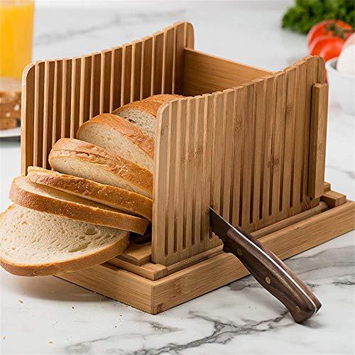 Bambus-Brotschneider, Schneidehilfe, Holzbrotschneider für selbstgemachtes Brot, Kastenkuchen, Bagels, faltbar und kompakt mit Krümelsammler