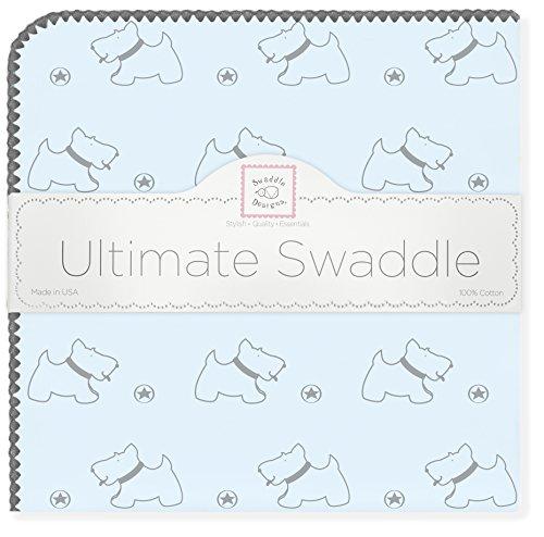 SwaddleDesigns Ultimate Ontvanger Deken, Grijs Doggie met Grijze Trim 106 x 106 cm Pastel Blauw