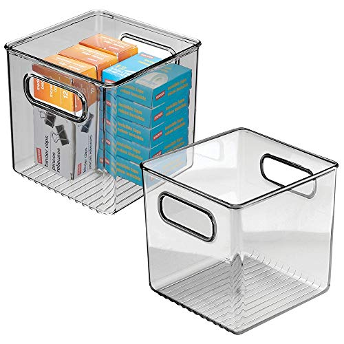 mDesign Plastic Home Office Storage Organizer Container with Handles - for Cabinets, Drawers, Desks, Workspace - Holds Pens, Pencils, Highlighters, Notebooks - 6' Cube, 2 Pack - Smoke Gray