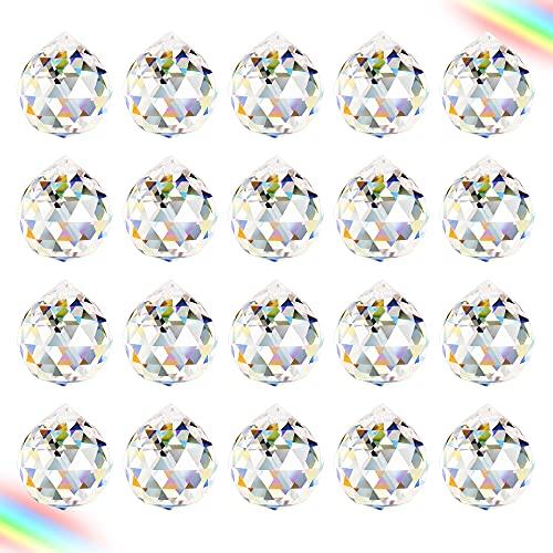 Aipaide Transparente Bola de Cristal 20pcs Bola de Cristal Feng Shui Colgante Bola de Cristal Prisma para Decoración de Lámpara de Casa, Boda, Navidad 20