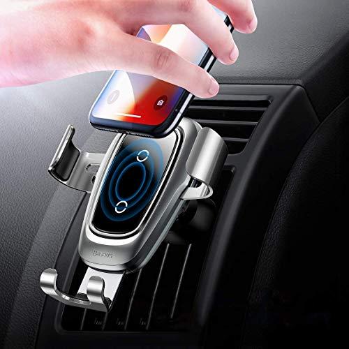 QKa Wireless Car Charger Mount, kabelloses Ladegerät Autohalterung für Lüftungsschlitze, 10 Watt Qi-Gebühr für Samsung Galaxy S8 S8 Plus S7 S7 Edge,Gray