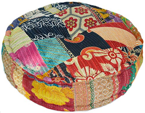 MARUDHARA Rangila Stuffed Indian Vintage Kantha Assorted Patch Floor Cushion; Pouf Ottoman; Round Pouf