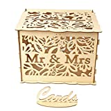 Ladysdress Deals DIY Wedding Card Box Coin Money Save Box Wooden Wedding Envelope Box Gift Boxes For Birthday Party Anniversary Baby Shower Graduation Party Decor (Mr& Mrs)