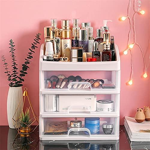 Schmuckbehälter Etui Make-up Pinselhalter Box Organizer Schubladen Kunststoff Kosmetik Aufbewahrung Halskette Rack Tragbares Wohnzimmer Andenkenbox für Frauen