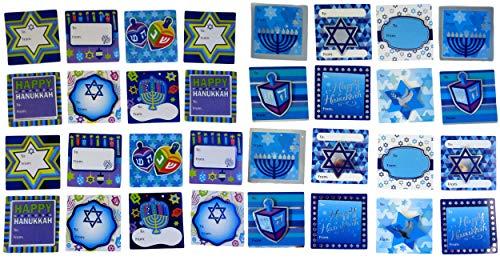 Hanukkah Gift Tags - Jumbo Pack of 32 Self Stick Present Tags