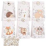 ZITFRI Bolsa de Papel 24pcs Bolsa de Dulces 6 Animales, Bolsa de Regalo Cumpleaños + 36 Pegatinas Animales Bolsas de Candy Papel Regalo Bolsas para Niños Suministros para Fiestas Cumpleaños Navidad
