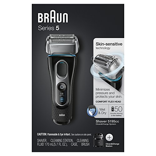 Braun Series 5 Men's Electric Foil Shaver with Wet & Dry Integrated Precision Trimmer & Rechargeable and Cordless Razor with Clean&Charge Station and Travel Case, 5195cc