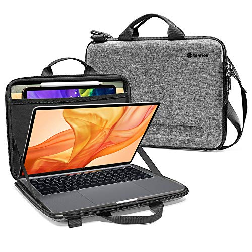 tomtoc 12-13 inch Slim Case for 13-inch MacBook Air A2179 A1932, MacBook Pro USB-C A2251 A2289 A2159 A1989, Organized Shoulder Bag with Tablet Pocket for Up to 11 iPad Pro with Magic/Smart Keyboard
