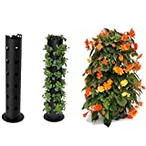 Hanging Vertical Planter with Drainage Hole,Freestanding Flower Tower,Portable Flowers Herbs Fruit Nursery Standing Flower Tower,for Yard Garden Decks Home Decoration
