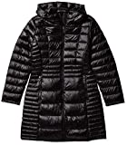 Calvin Klein Women's Wool Coat Single Breasted Button Front with Removable Belt and Hood, BLACK, L
