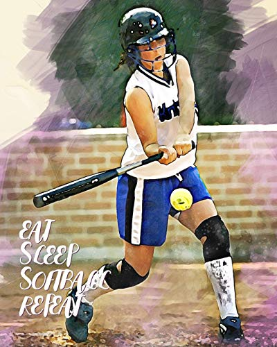 Eat Sleep Softball Repeat: - Lined Notebook, Diary, Track, Log & Journal - Gift for Softball Girls (8