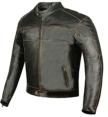 Men's Tribune Vintage Motorcycle Street Cruiser Armor Leather Biker Jacket L
