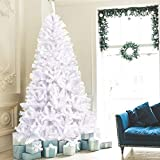 C-Chain 9FT White Hinged Artificial Christmas Tree, Jumbo Pine Xmas Tree with Metal Legs, Premium Unlit Spruce Full Tree with 2132 Branch Tips, Perfect for Indoor and Outdoor Holiday Deco(9ft Hinged)