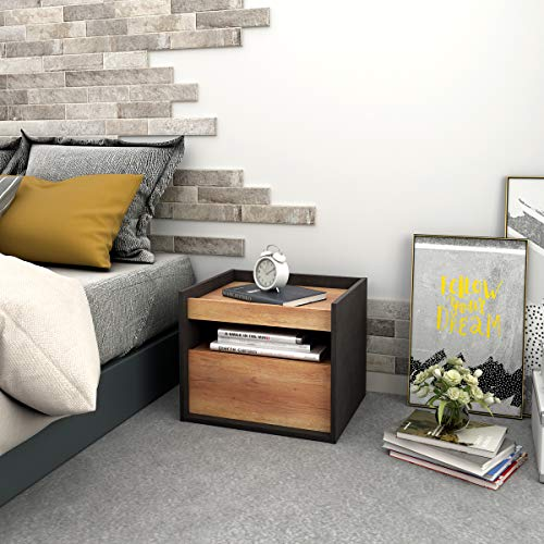 DEVAISEナイトテーブルベッドサイドテーブルサイドテーブル引き出し付き小物・本などの収納に便利木製簡単組立木目と石柄おしゃれ北欧風ORACTG601WL
