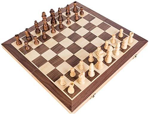 Juego de Ajedrez Juego de tablero de ajedrez juego Conjunto de ajedrez de madera, tablero de ajedrez de viaje plegable, fácil de transportar, duradero y resistente a los arañazos, un juego de mesa par