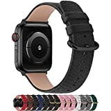 Fullmosa Compatible Correa Apple Watch 38mm Serie 3 Cuero,para 14 Colores Correa iWatch SE/Apple Watch 6/5/4/3/2/1 Nike+ Hermes&Edition, Negro + Hebilla Dorado + Adaptador Plata, 38mm