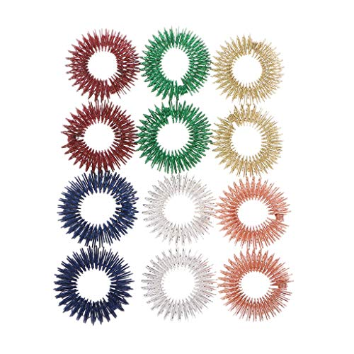 12PCS Spiky Sensory Finger Acupressure Ring Fidget Toy for Kids Adults Silent Stress Relief Massager Helps with Focus ADHD Autism