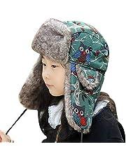 ITODA - Gorro de invierno unisex para niños y adolescentes con orejeras de piel sintética para niños de 5 a 15 años