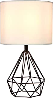 SOTTAE Black Hollowed Out Base Modern Livingroom Bedroom Bedside Table Lamp, Desk Lamp with White Fabric Shade