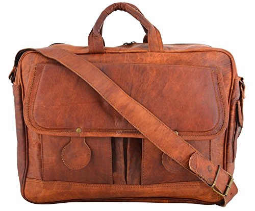 Last DAY - SALE Clearance 2019! Shakun Leather Handmade Briefcase Vintage Brown Messenger Laptop Bag, One Size, NEW, 100% Pure Leather with Free Shipping