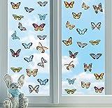 37 pcs Adhesivos de Ventana de Mariposa,Vinilo decorativo mariposas de colores,Pegatinas Anticolisión para la Decoración del Partido del Dormitorio del Baño de la Habitación de los Niños