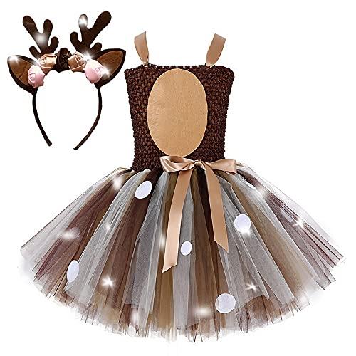 yeesn niñas Princesa Unicornio disfraz Luz LED Vestidos de Tul para tutú de Ballet Flores Arco Iris Vestido de Boda Fiesta de Halloween (7-8 años, alce)