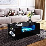 UNDRANDED Couchtisch Alle Hochglanz Modern Sofa Tisch 2 Schubladen mit Regalen Rechteck END Tisch für Wohnzimmer Zuhause Büromöbel Dekoration 95x55x37cm (Schwarz mit LED Streifen)