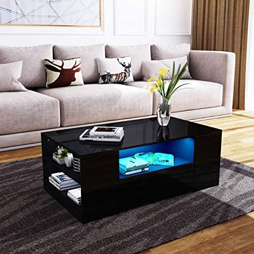 Senvoziii Couchtisch Hochglanz Sofatisch Kaffeetisch 2 Schubladen mit Regalen Offenes Gehäuse für Wohnzimmer Büromöbel - Schwarz mit LED Beleuchtung