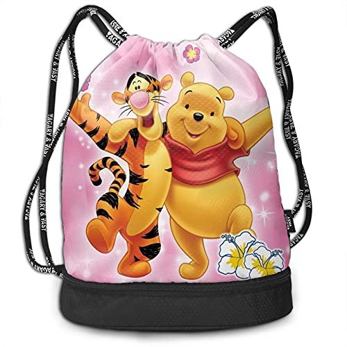 Winnie Cartoon Pooh Bear Tigger - Mochila de gran capacidad, ligera, portátil, multifuncional, con cordón, ideal para viajes de fitness, hombres y mujeres