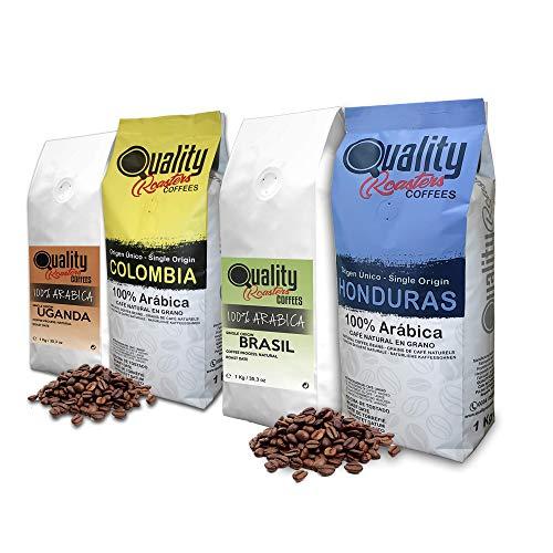 Quality Roasters Coffees. Café en grano natural. 100% Arabica. 4 orígenes: Colombia, Uganda, Brasil, Honduras. Pack de 4 Kg. Tostado artesanal. Tueste Medio. 4 x 1 Kg.