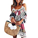 Casual da Donna Estate Stampa Slim Senza Maniche Canotte Spiaggia Mini Vestito SANFASHION
