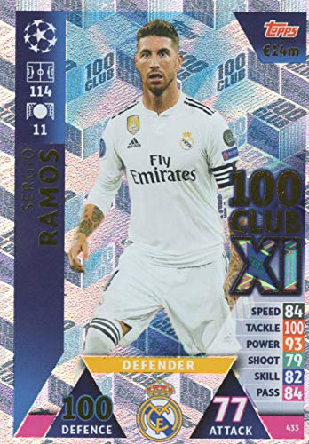 Match Attax Champions League 18/19 Serio Ramos 100 Club Trading Card - Real Madrid 18/19