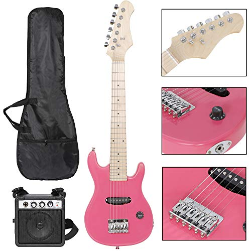 Smartxchoices 30' Inch Kids Electric Guitar with 5W Amp Cable Cord Pick Shoulder Strap Much More Guitar Combo Accessory Kit for Beginner Starter (Pink)