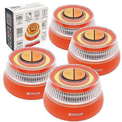 KRASER KR4V16NP4 Pack 4 Luz Holomogada DGT LED Intensidad, Baliza Luminosa de Emergencia Imantada, Autónoma, Compacta y Ligera + Linterna con Colgador, Naranja